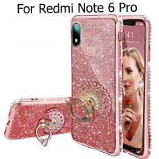 Sparkly Peacock Ring Stand Diamond Case Sparkly Transparent Silicon Designer Back Covers for Mi Redmi Note 6 Pro - Rose Gold